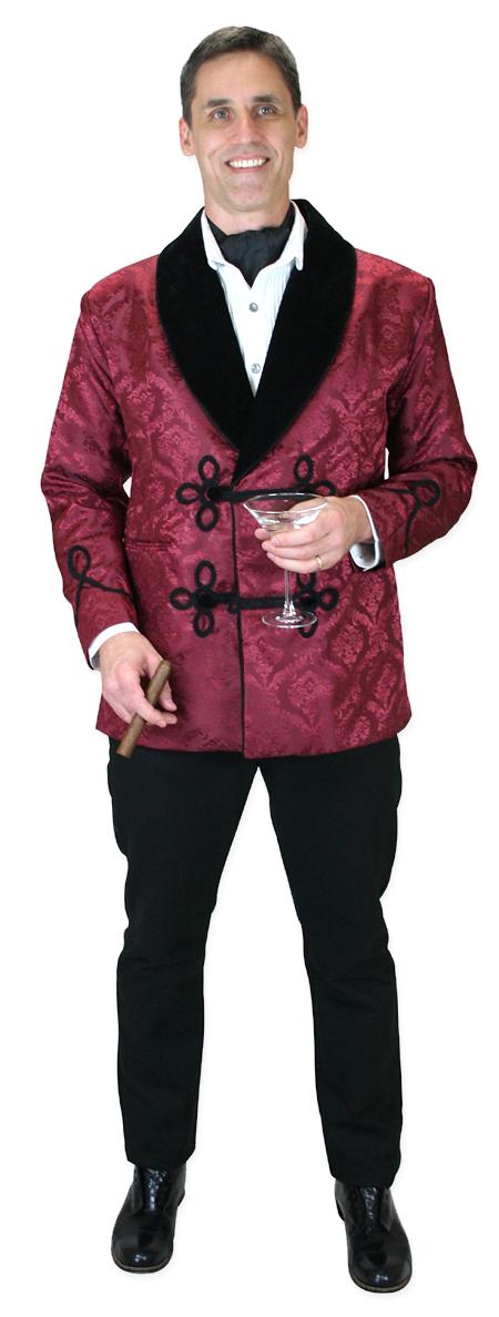 Wedding Mens Burgundy Floral Shawl Collar Smoking Jacket | Formal | Bridal | Prom | Tuxedo || Vintage Smoking Jacket - Burgundy Brocade