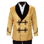 Victorian, Mens Coats Gold Synthetic Floral Smoking Jackets |Antique, Vintage, Old Fashioned, Wedding, Theatrical, Reenacting Costume | Vintage Smoking Sets