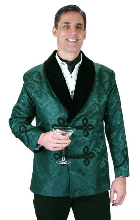 Steampunk Mens Green Floral Shawl Collar Smoking Jacket | Gothic | Pirate | LARP | Cosplay | Retro | Vampire || Vintage Smoking Jacket - Green Brocade