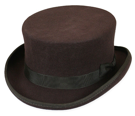 1800s Mens Brown Wool Felt Top Hat | 19th Century | Historical | Period Clothing | Theatrical || Cahill Hat - Chocolate