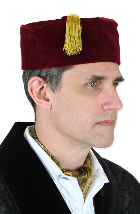 Steampunk Mens Burgundy,Red Velvet Smoking Cap | Gothic | Pirate | LARP | Cosplay | Retro | Vampire || Vintage Quilted Smoking Cap - Burgundy Velvet