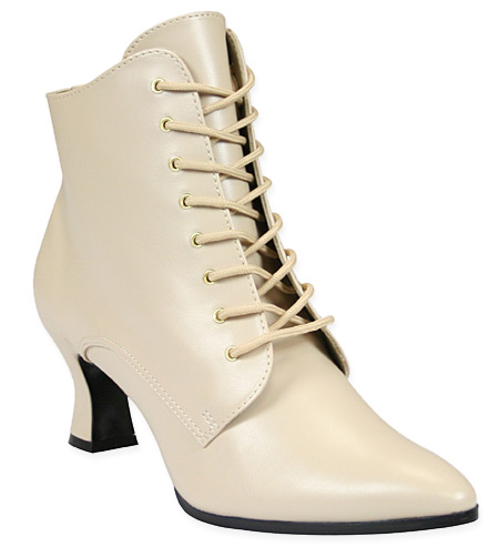 1800s Ladies Ivory Faux Leather Boots | 19th Century | Historical | Period Clothing | Theatrical || Victorian Ankle Boot - Ivory Faux Leather