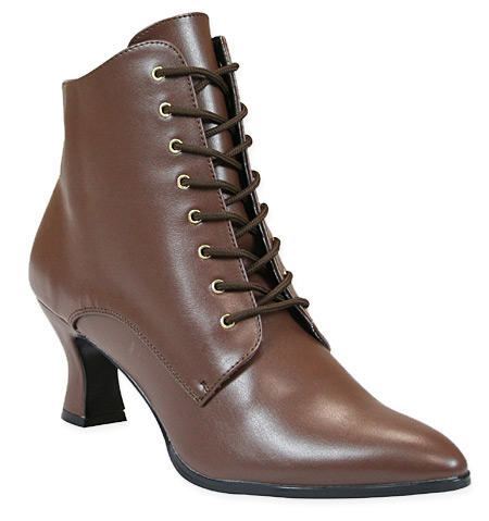 Victorian Ankle Boot - Brown Faux Leather