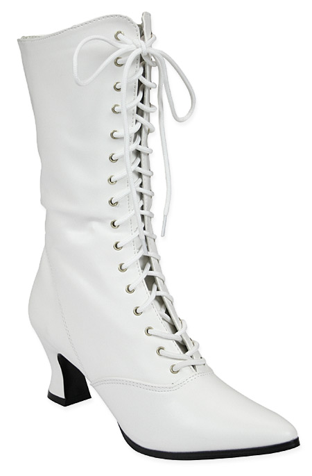Wedding Ladies White Faux Leather Boots | Formal | Bridal | Prom | Tuxedo || Victorian Boot - White Faux Leather