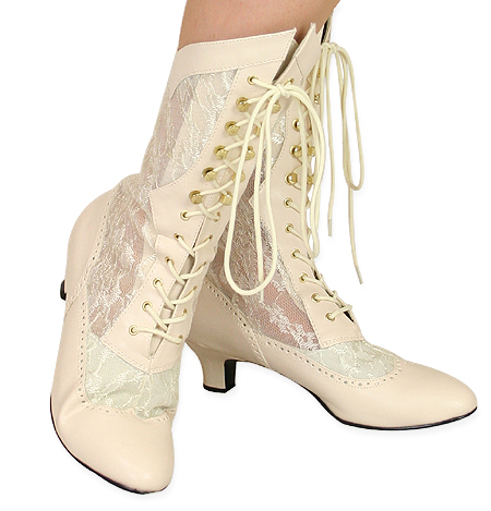 Steampunk Ladies Ivory Faux Leather Solid,Lacy Boots | Gothic | Pirate | LARP | Cosplay | Retro | Vampire || Verity Lace Victorian Boot - Ivory Faux Leather