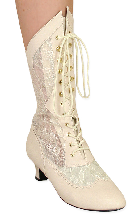 Verity Lace Victorian Boot - Ivory Faux Leather