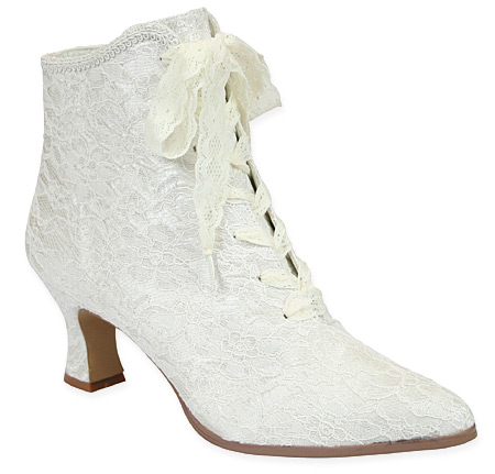 1800s Ladies White Lace Boots | 19th Century | Historical | Period Clothing | Theatrical || Destiny Victorian Ankle Boot - Antique White Lace