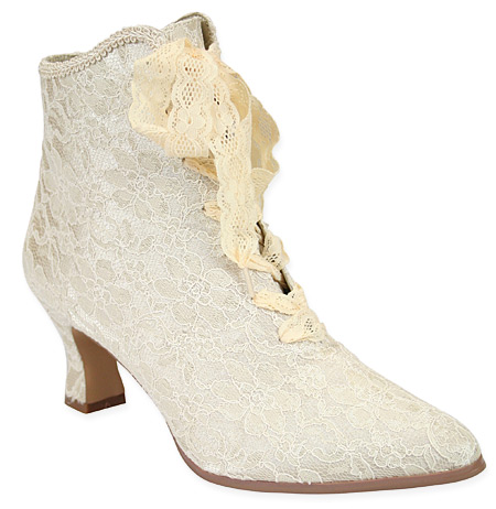 1800s Ladies Ivory Lace Boots | 19th Century | Historical | Period Clothing | Theatrical || Destiny Victorian Ankle Boot - Ivory Lace
