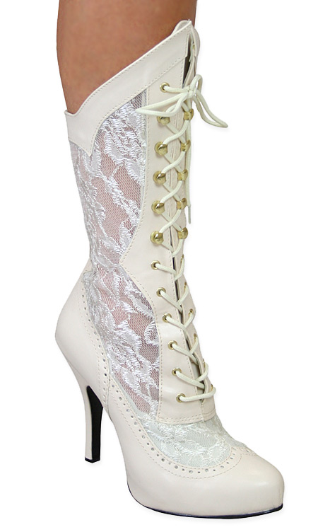 Vintage Ladies Ivory Faux Leather Solid,Lacy Boots | Romantic | Old Fashioned | Traditional | Classic || Harmony Victorian Lace Boot - Ivory Faux Leather