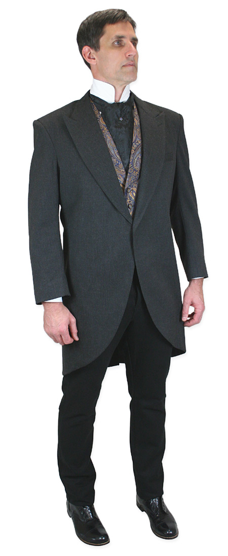 Victorian Mens Gray Cotton Blend Solid Peak Collar Cutaway Coat | Dickens | Downton Abbey | Edwardian || Traditional Cutaway Morning Coat - Charcoal
