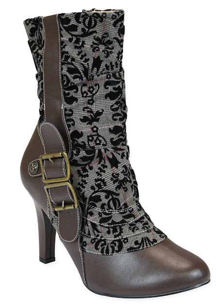 Steampunk Ladies Brown Faux Leather Solid,Lacy Boots | Gothic | Pirate | LARP | Cosplay | Retro | Vampire || Steampunk Ladies Boot - Brown Faux Leather