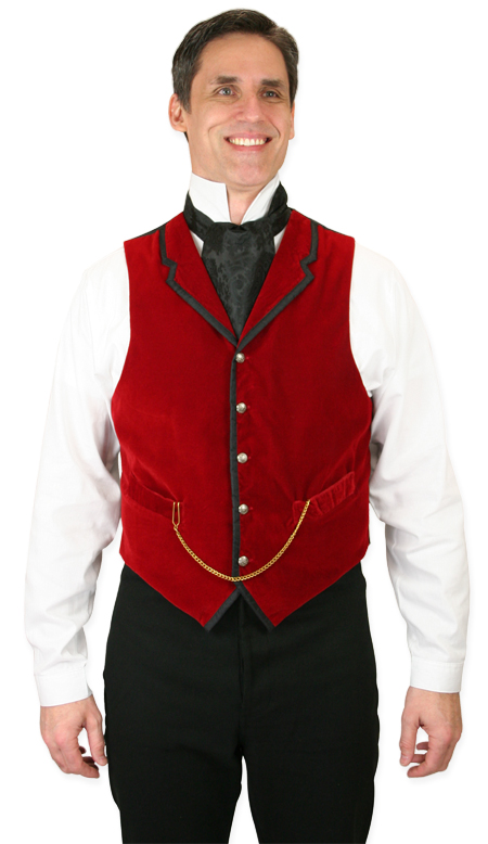 Victorian Mens Red Velvet Solid Notch Collar Dress Vest | Dickens | Downton Abbey | Edwardian || Bonaventure Vest - Red Velvet