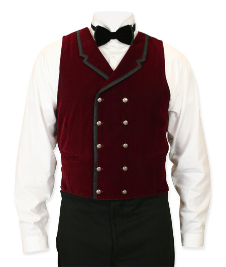 Victorian Mens Burgundy,Red Velvet Solid Notch Collar Dress Vest | Dickens | Downton Abbey | Edwardian || Gramercy Vest - Burgundy Velvet