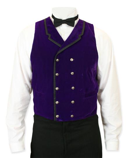 1800s Mens Purple Velvet Solid Notch Collar Dress Vest | 19th Century | Historical | Period Clothing | Theatrical || Gramercy Vest - Purple Velvet