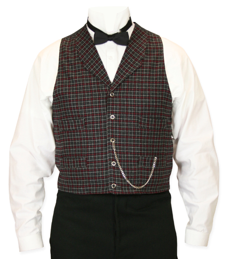 Vintage Mens Red,Black Plaid Notch Collar Dress Vest | Romantic | Old Fashioned | Traditional | Classic || Ives Plaid Vest