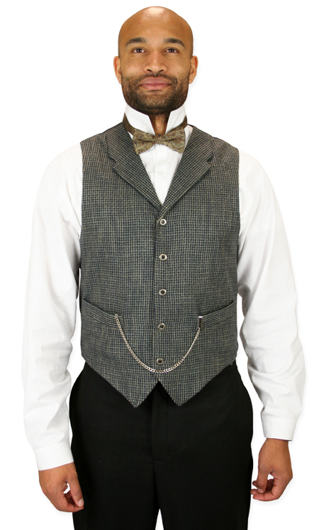 Wedding Mens Blue,Tan,Brown Solid,Check Notch Collar Dress Vest | Formal | Bridal | Prom | Tuxedo || Devlin Vest - Navy and Tan
