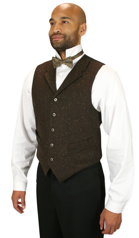 Steampunk Mens Brown Herringbone,Solid Notch Collar Dress Vest | Gothic | Pirate | LARP | Cosplay | Retro | Vampire || Burke Herringbone Vest - Walnut