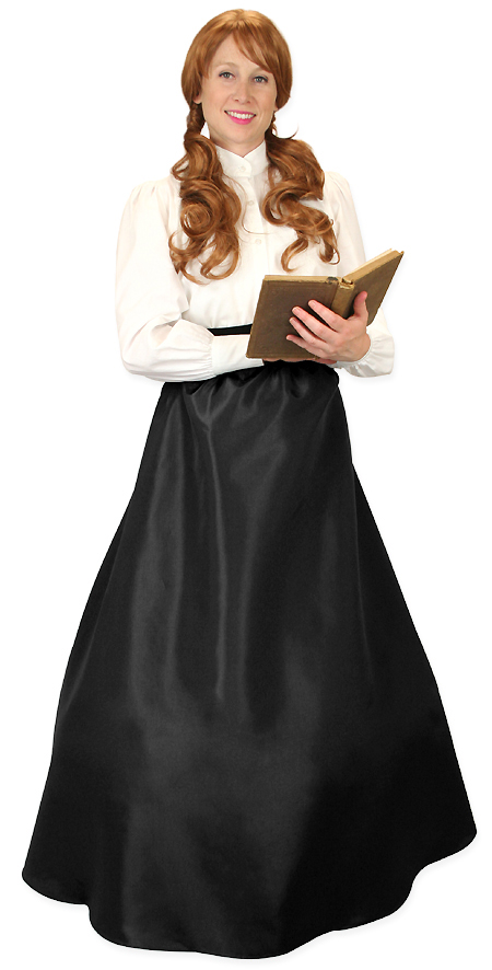 1800s Ladies Black Solid Dress Skirt | 19th Century | Historical | Period Clothing | Theatrical || Evelyn Skirt - Onyx