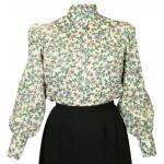 Victorian,Old West, Ladies Blouses Green Cotton Blend Floral,Calico Traditional Fit Blouses,Colorful Blouses |Antique, Vintage, Old Fashioned, Wedding, Theatrical, Reenacting Costume |
