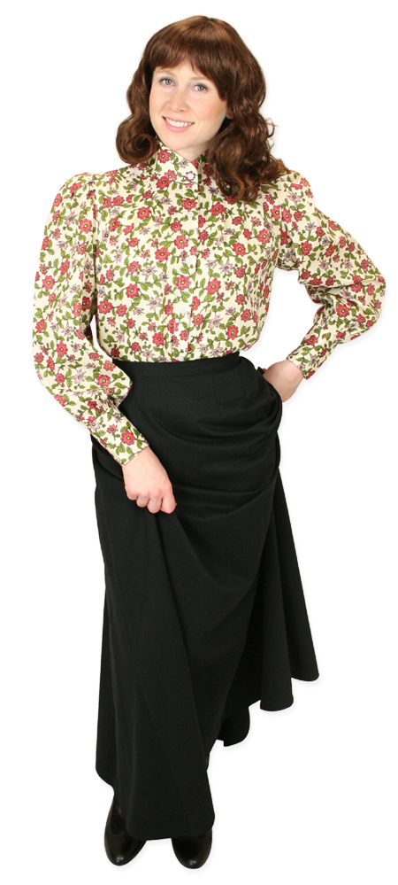 Wedding Ladies Red Cotton Blend Floral,Calico Stand Collar Blouse | Formal | Bridal | Prom | Tuxedo || Primrose Blouse - Red