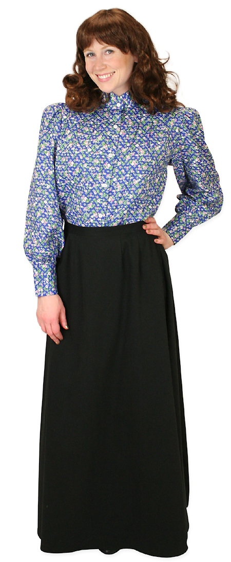 Steampunk Ladies Blue Cotton Blend Floral,Calico Stand Collar Blouse | Gothic | Pirate | LARP | Cosplay | Retro | Vampire || Penelope Blouse - Blue