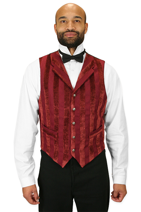 Vintage Mens Red Stripe Notch Collar Dress Vest | Romantic | Old Fashioned | Traditional | Classic || Thompson Vest - Burgundy Velvet