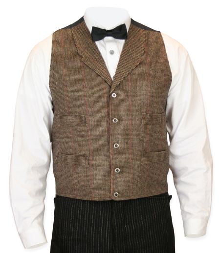 Wedding Mens Brown Plaid Notch Collar Dress Vest | Formal | Bridal | Prom | Tuxedo || Everett Plaid Vest