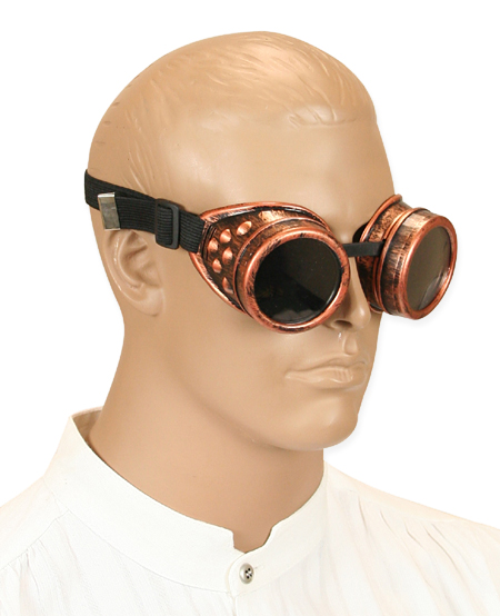 Victorian Mens Copper Plastic Goggles | Dickens | Downton Abbey | Edwardian || Copper Mad Science Goggles - Tinted Lens