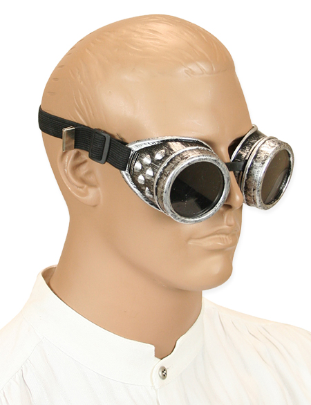 Steampunk Mens Silver Plastic Goggles | Gothic | Pirate | LARP | Cosplay | Retro | Vampire || Antiqued Silver Mad Science Goggles - Tinted Lens