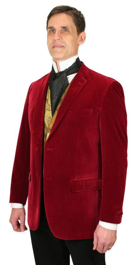Steampunk Mens Red Velvet Solid Notch Collar Smoking Jacket | Gothic | Pirate | LARP | Cosplay | Retro | Vampire || Maxwell Smoking Jacket - Red Velvet