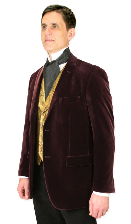 1800s Mens Purple,Red,Burgundy Velvet Solid Notch Collar Smoking Jacket | 19th Century | Historical | Period Clothing | Theatrical || Maxwell Smoking Jacket - Wine Velvet