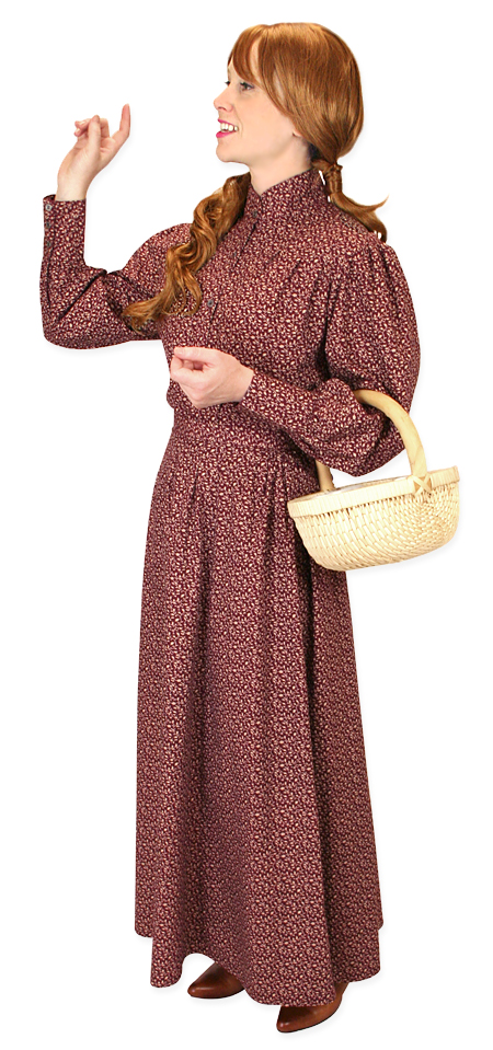 Vintage Ladies Burgundy,Red Cotton Floral,Calico Dress Skirt | Romantic | Old Fashioned | Traditional | Classic || Katie Calico Skirt - Burgundy