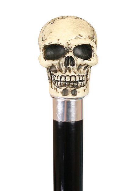 Victorian Mens Ivory Resin,Wood Walking Stick | Dickens | Downton Abbey | Edwardian || Macabre Skull Walking Stick