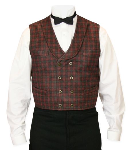 Steampunk Mens Red Plaid Shawl Collar Dress Vest | Gothic | Pirate | LARP | Cosplay | Retro | Vampire || MacGregor Plaid Vest