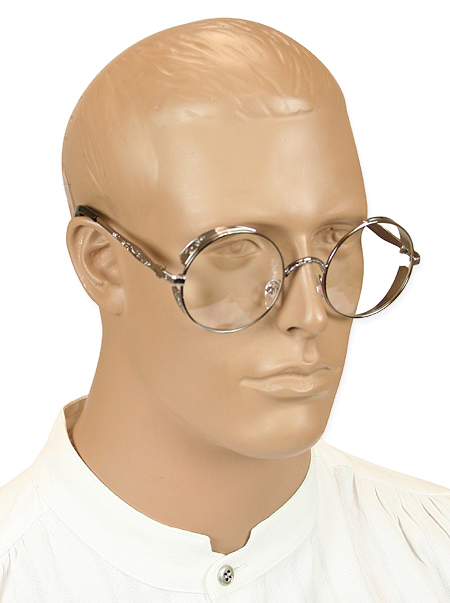 Victorian Mens Silver,Clear Alloy Spectacles | Dickens | Downton Abbey | Edwardian || Outrider Spectacles - Silver