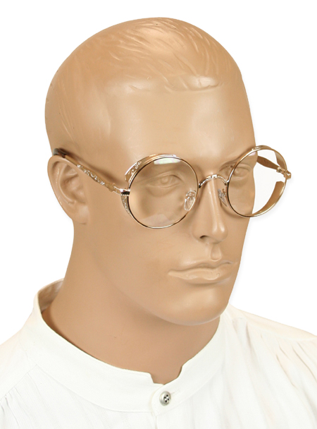 Steampunk Mens Gold,Clear Alloy Spectacles | Gothic | Pirate | LARP | Cosplay | Retro | Vampire || Outrider Spectacles - White Gold