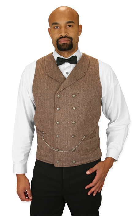 Wedding Mens Brown Tweed,Wool Blend Herringbone Notch Collar Dress Vest | Formal | Bridal | Prom | Tuxedo || Cavendish Tweed Vest - Brown Herringbone