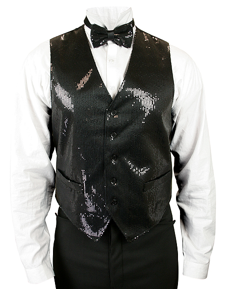 Headliner Sequin Vest and Tie Set - Black