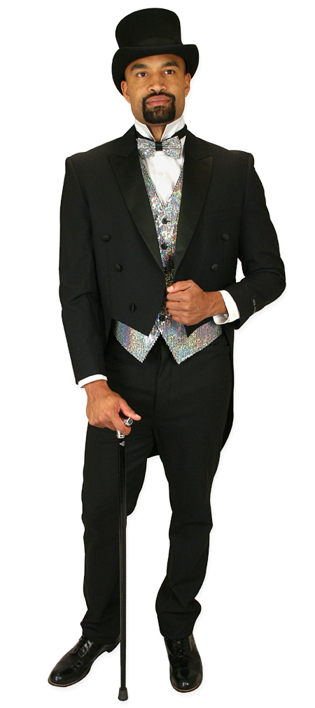 1800s Mens Silver Solid,Sequin No Collar Dress Vest | 19th Century | Historical | Period Clothing | Theatrical || Headliner Sequin Vest and Tie Set - Silver