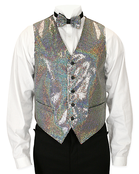 Headliner Sequin Vest and Tie Set - Silver