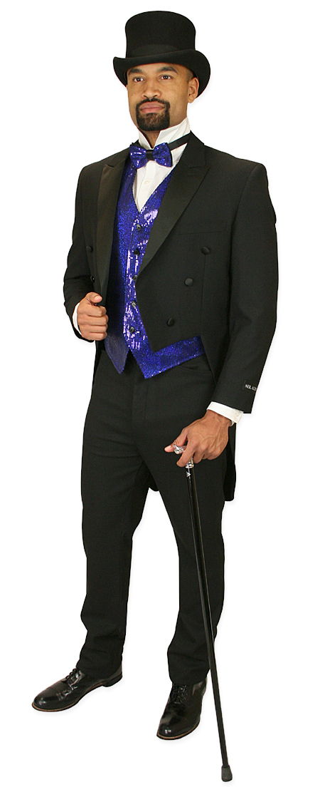 Vintage Mens Blue Solid,Sequin No Collar Dress Vest | Romantic | Old Fashioned | Traditional | Classic || Headliner Sequin Vest and Tie Set - Royal