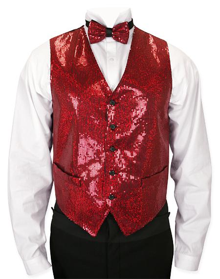 Headliner Sequin Vest and Tie Set - Red