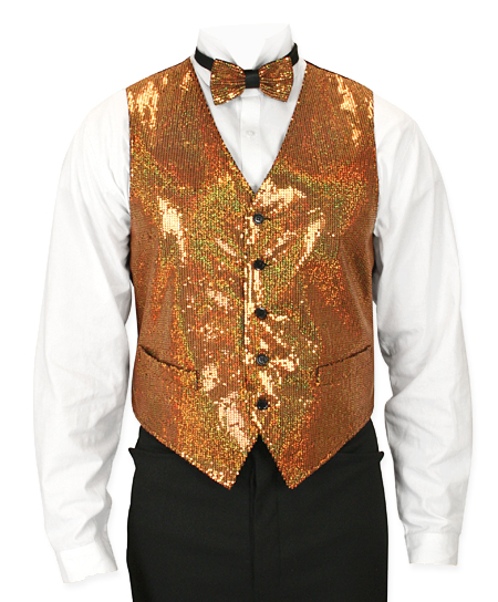 Headliner Sequin Vest and Tie Set - Gold