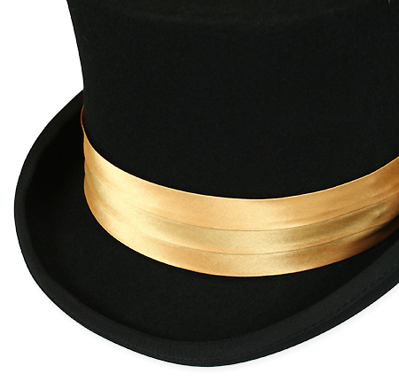 Wedding Mens Gold Satin Hat Band | Formal | Bridal | Prom | Tuxedo || Hat Band - Gold Satin
