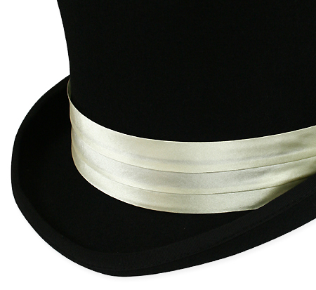Victorian Mens Ivory Satin Hat Band | Dickens | Downton Abbey | Edwardian || Hat Band - Ivory Satin