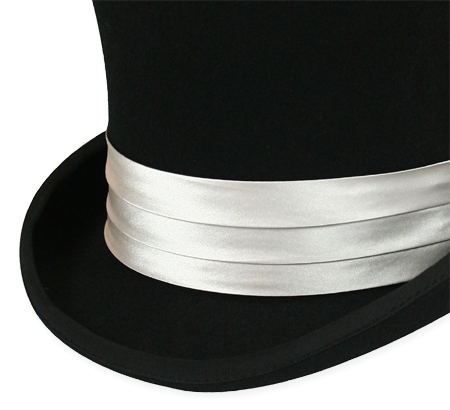 Steampunk Mens Silver Satin Hat Band | Gothic | Pirate | LARP | Cosplay | Retro | Vampire || Hat Band - Silver Gray Satin