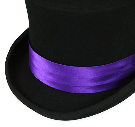 Steampunk Mens Purple Satin Hat Band | Gothic | Pirate | LARP | Cosplay | Retro | Vampire || Hat Band - Purple Satin
