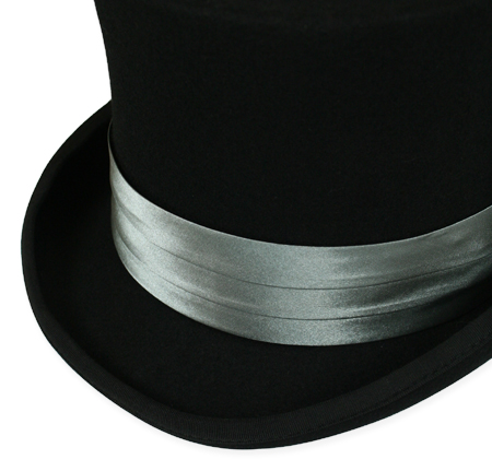 1800s Mens Gray Satin Hat Band | 19th Century | Historical | Period Clothing | Theatrical || Hat Band - Charcoal Satin