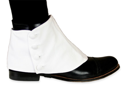 Wedding Mens White Cotton Spats | Formal | Bridal | Prom | Tuxedo || Premium Mens Button Spats - White Cotton (One Pair)