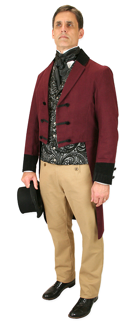 Victorian Mens Burgundy,Red Cotton,Velvet Solid Notch Collar Tail Coat | Dickens | Downton Abbey | Edwardian || Sovereign Regency Tailcoat - Burgundy